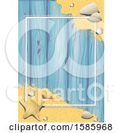 Poster, Art Print Of Summer Time Sandy Beach And Shells Background Over Wood With A Frame