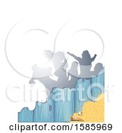 Clipart Of A Summer Time Sandy Beach And Shells Party Background With Silhouetted Dancers On White Royalty Free Vector Illustration