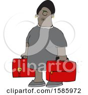 Cartoon Black Woman Carrying Suitcases