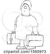 Cartoon Lineart Black Woman Carrying Suitcases