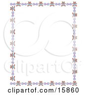 Stationery Border Of Teddy Bears And Baby Rattles Over A White Background