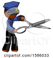 Orange Police Man Holding Giant Scissors Cutting Out Something