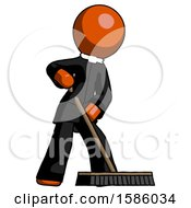 Orange Clergy Man Cleaning Services Janitor Sweeping Floor With Push Broom