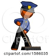Orange Police Man Cleaning Services Janitor Sweeping Floor With Push Broom