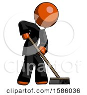 Orange Clergy Man Cleaning Services Janitor Sweeping Side View