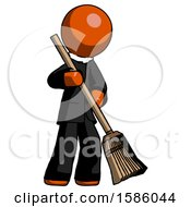 Orange Clergy Man Sweeping Area With Broom