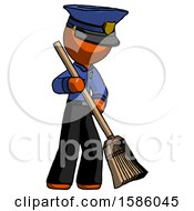 Orange Police Man Sweeping Area With Broom