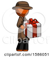 Orange Detective Man Giving A Present