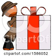 Orange Detective Man Gift Concept Leaning Against Large Present