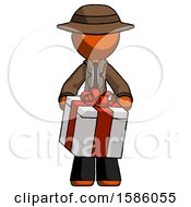 Orange Detective Man Gifting Present With Large Bow Front View