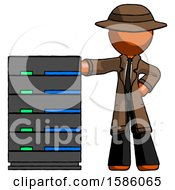 Orange Detective Man With Server Rack Leaning Confidently Against It