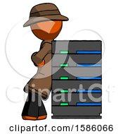 Orange Detective Man Resting Against Server Rack