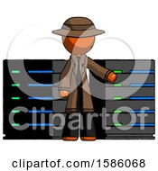 Orange Detective Man With Server Racks In Front Of Two Networked Systems
