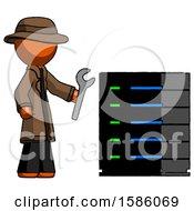 Orange Detective Man Server Administrator Doing Repairs