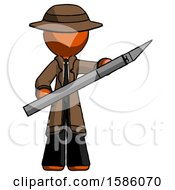 Orange Detective Man Holding Large Scalpel