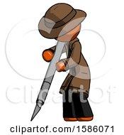 Orange Detective Man Cutting With Large Scalpel