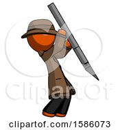 Orange Detective Man Stabbing Or Cutting With Scalpel