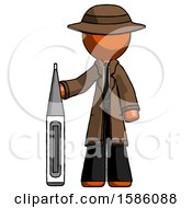 Orange Detective Man Standing With Large Thermometer