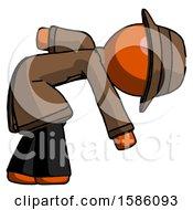 Orange Detective Man Picking Something Up Bent Over
