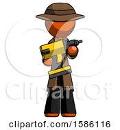 Orange Detective Man Holding Large Drill