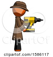 Orange Detective Man Using Drill Drilling Something On Right Side