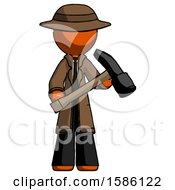 Orange Detective Man Holding Hammer Ready To Work