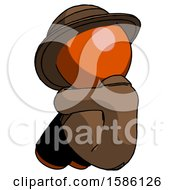 Orange Detective Man Sitting With Head Down Back View Facing Left