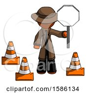 Orange Detective Man Holding Stop Sign By Traffic Cones Under Construction Concept