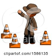 Orange Detective Man Standing By Traffic Cones Waving