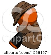 Orange Detective Man Sitting With Head Down Facing Sideways Left