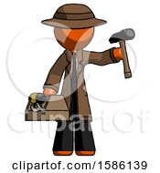 Orange Detective Man Holding Tools And Toolchest Ready To Work