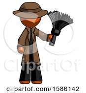 Orange Detective Man Holding Feather Duster Facing Forward