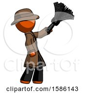 Orange Detective Man Dusting With Feather Duster Upwards