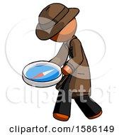 Orange Detective Man Walking With Large Compass