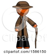 Orange Detective Man Standing With Hiking Stick