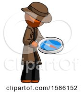 Orange Detective Man Looking At Large Compass Facing Right