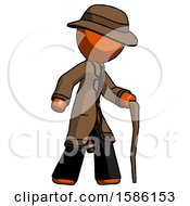 Orange Detective Man Walking With Hiking Stick