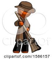Orange Detective Man Sweeping Area With Broom