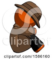 Orange Detective Man Sitting With Head Down Facing Sideways Right