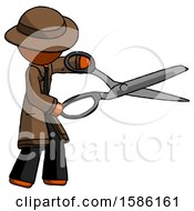 Orange Detective Man Holding Giant Scissors Cutting Out Something