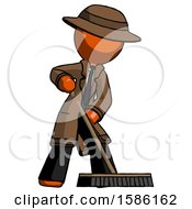 Orange Detective Man Cleaning Services Janitor Sweeping Floor With Push Broom