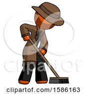 Orange Detective Man Cleaning Services Janitor Sweeping Side View