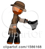 Orange Detective Man Dusting With Feather Duster Downwards