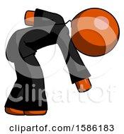 Orange Clergy Man Picking Something Up Bent Over