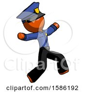 Orange Police Man Running Away In Hysterical Panic Direction Right