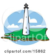 Tall White Lighthouse On The Coast Clipart Illustration
