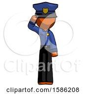 Orange Police Man Soldier Salute Pose