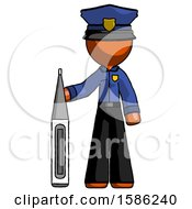 Orange Police Man Standing With Large Thermometer