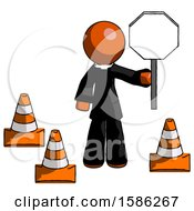 Orange Clergy Man Holding Stop Sign By Traffic Cones Under Construction Concept