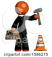 Orange Clergy Man Under Construction Concept Traffic Cone And Tools